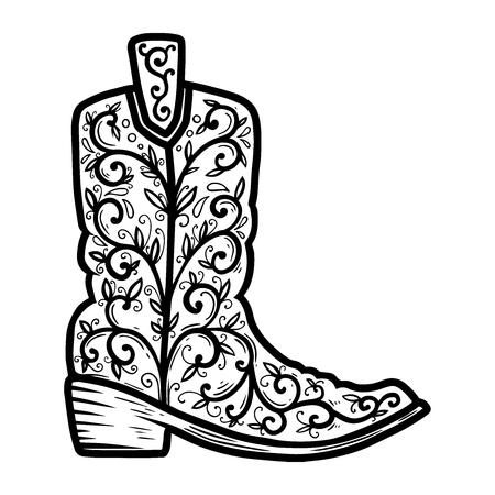 Cowboy boot with floral pattern.  Design element for poster, t shirt, emblem, sign. Archivio Fotografico - 123759240