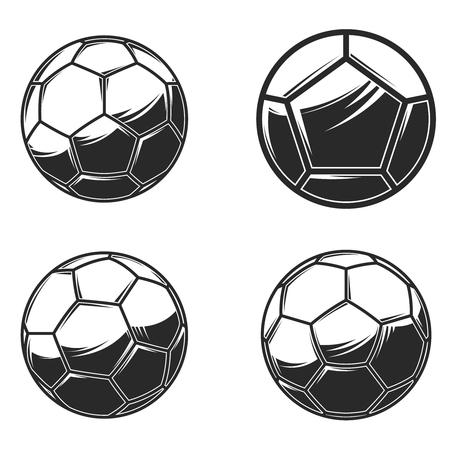 Football soccer balls on white background. Design element for logo, label, sign, poster, card, banner. Vector illustration