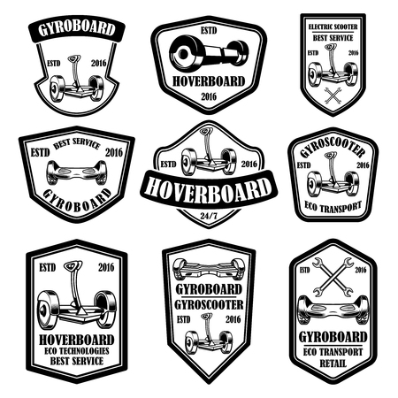 Set of gyro scooter emblems. Design elements for logo, label, sign, poster, card. Vector illustration Illustration