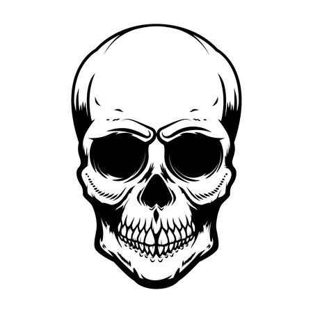 Ludzka czaszka na białym tle. Element projektu plakatu, karty, banera, koszulki, godła, znaku. Ilustracja wektorowa