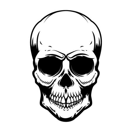Human skull isolated on white background. Design element for poster, card, banner, t shirt, emblem, sign. Vector illustration