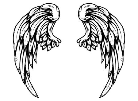 Alas de águila en estilo tatuaje aislado sobre fondo blanco. Elemento de diseño de cartel, camiseta, tarjeta, emblema, letrero, insignia. Ilustración vectorial