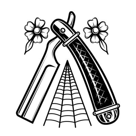 Barber razor in tattoo style. Design element for poster, t shirt, emblem, sign. Vector illustration
