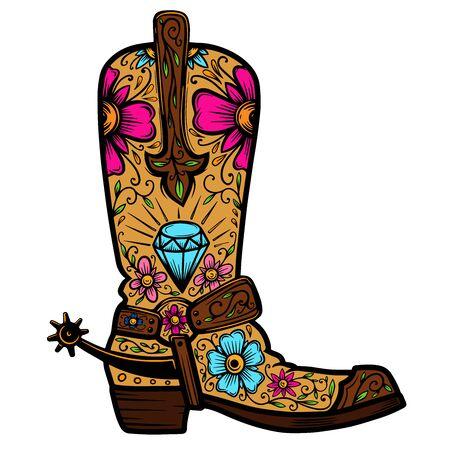 Bota vaquera con estampado floral. Elemento de diseño de cartel, camiseta, emblema, letrero.