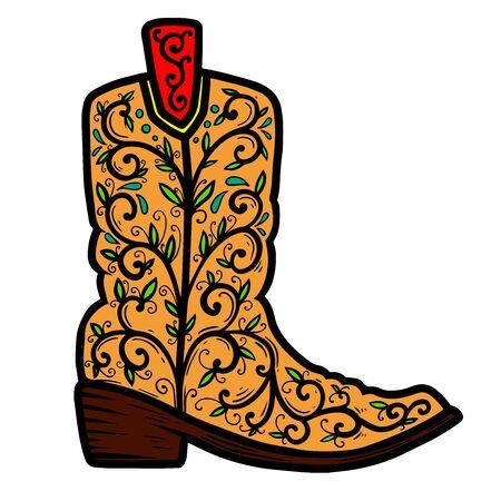 Kowbojskie buty z kwiatowym wzorem. Element projektu plakatu, koszulki, godła, znaku.
