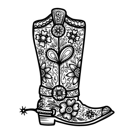 Cowboy boot with floral pattern. Design element for poster, t shirt, emblem, sign.