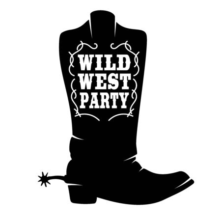 Wild west party. Cowboy boot with lettering.  Design element for poster, t shirt, emblem, sign. Ilustrace