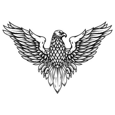 Eagle illustration in engraving style. Design element for logo, label, sign, poster, badge, emblem. Vector illustration