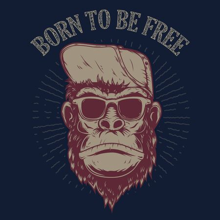 Born to be free. Monkey illustration on grunge background.  Design element for poster, t shirt, emblem, sign. Illustration