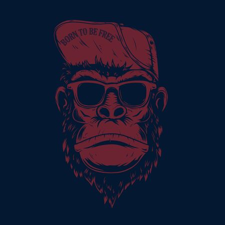 Illustration of monkey in baseball cap and sunglasses. Design element for poster, t shirt, emblem, sign, label. Vector illustration