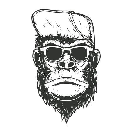 illustration of gorilla monkey in baseball cap. Design element for poster, t shirt, emblem, sign. Vector illustration Ilustrace