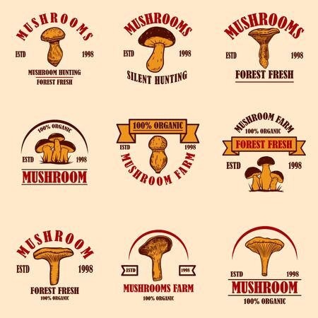 Set of emblems with mushrooms. Design element for poster, logo, label, sign, badge. Vector illustration 向量圖像