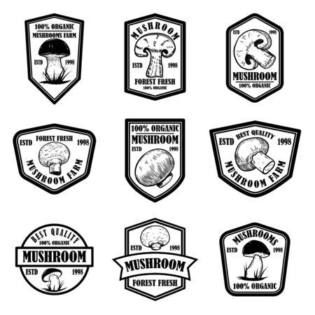 Set of emblems with mushrooms. Design element for poster, logo, label, sign, badge.