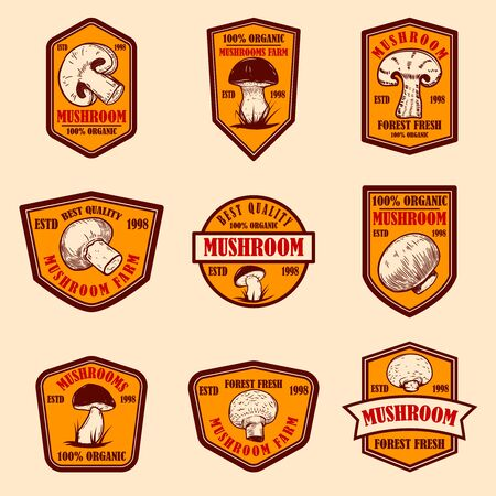 Set of emblems with mushrooms. Design element for poster, logo, label, sign, badge.