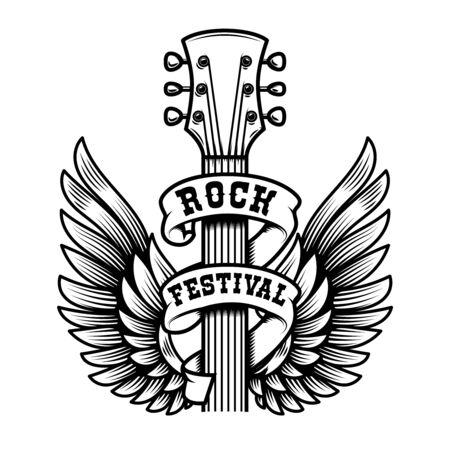 Rock festival. Guitar head with wings. Design element for poster, t shirt, emblem, sign, label. Vector illustration 일러스트