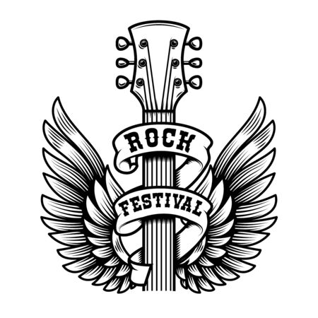 Rock festival. Guitar head with wings. Design element for poster, t shirt, emblem, sign, label. Vector illustration Illustration