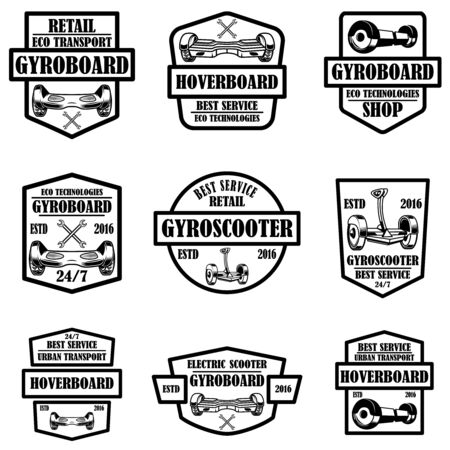Set of gyro scooter emblems. Design elements for logo, label, sign, poster, card. Vector illustration Illustration