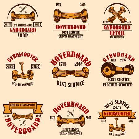 Set of gyro scooter emblems. Design elements for logo, label, sign, poster, card. Vector illustration Çizim