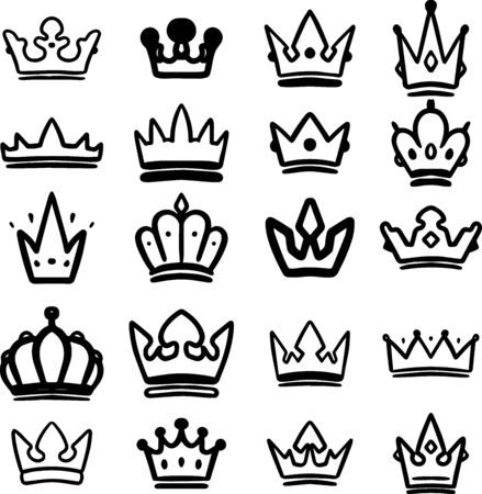 Set of hand drawn crowns isolated on white background. Design element for poster, card, banner, t shirt, emblem, sign. Vector illustration