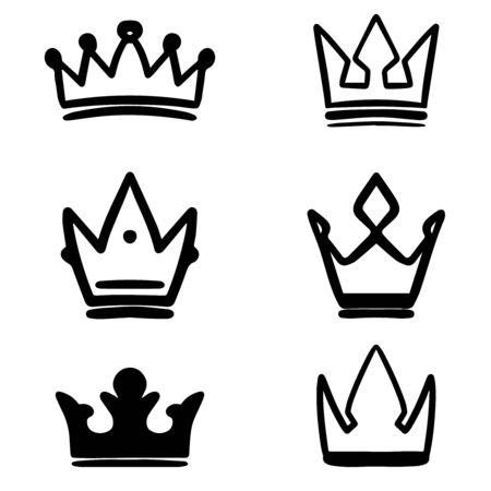 Set of hand drawn crown symbols. Design elements for logo, label, sign, poster, card. Vector illustration Ilustrace