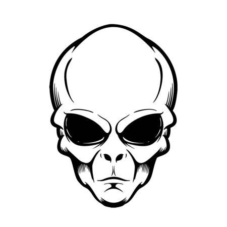 Ilustración de cabeza alienígena aislada en blanco. Ilustración de vector