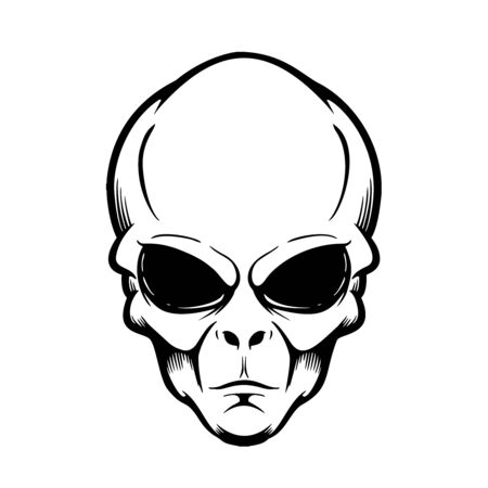 Illustration of alien head isolated on white.