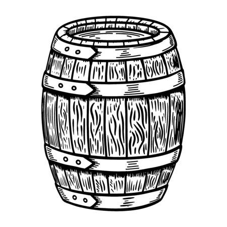 Illustration of wooden barrel isolated on white. Illustration