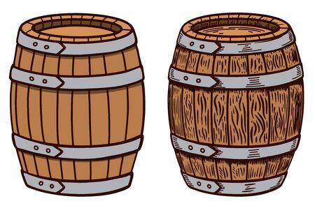 Wooden barrel on white background. Illustration