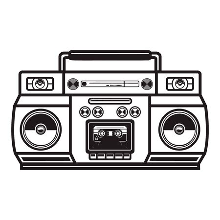 boombox cassette players. Illustration