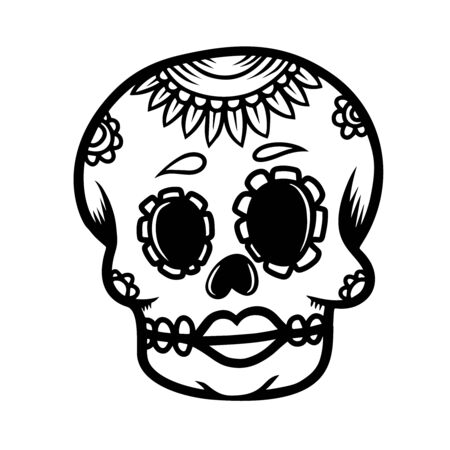 Hand drawn mexican sugar skull isolated on white background. Design element for poster, card, banner, t shirt, emblem, sign. Vector illustration Vectores
