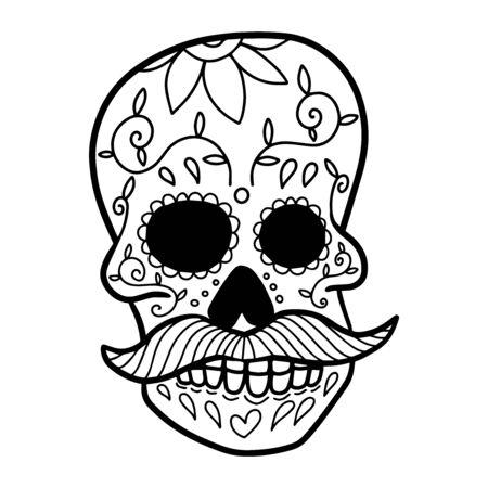 Hand drawn mexican sugar skull isolated on white background. Design element for poster, card, banner, t shirt, emblem, sign. Vector illustration Illustration