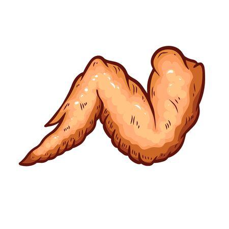 Illustration of chicken wings isolated on white background. Design element for poster, card, banner, sign, emblem, label. Vector illustration Imagens - 127734493