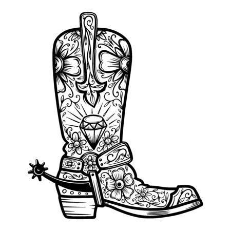Stivale texano con fantasia floreale. Elemento di design per poster, t-shirt, emblema, segno. Vettoriali