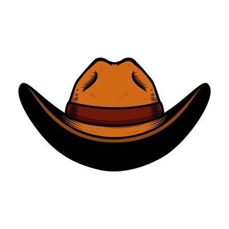 Illustration of cowboy hat isolated on white background. Design element for poster, card, banner, sign, emblem, label. Vector illustration