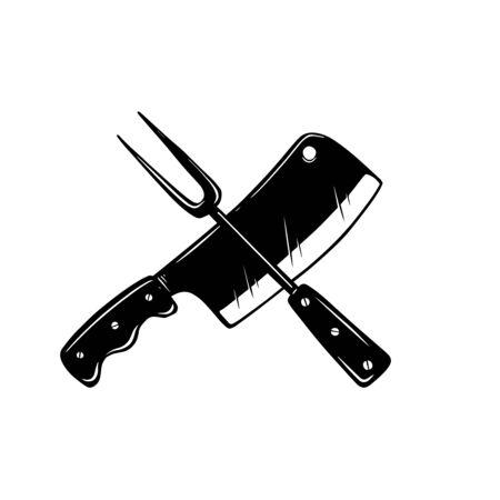 Tenedor cruzado y cuchillo de carnicero.