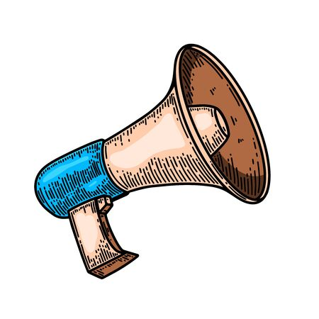 Megaphone illustration in engraving style isolated on white background. Design element for poster, card, banner, flyer. Vector illustration Ilustracja