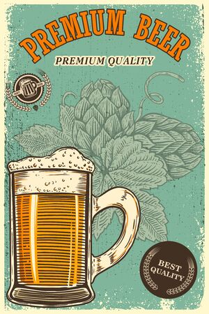 Beer poster template with mug and beer hop. Design element for poster, t shirt, emblem, sign, label. Vector illustration