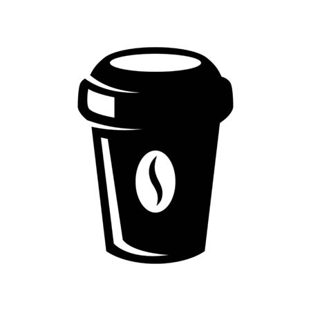 Coffee paper cup icon isolated on white. Illustration