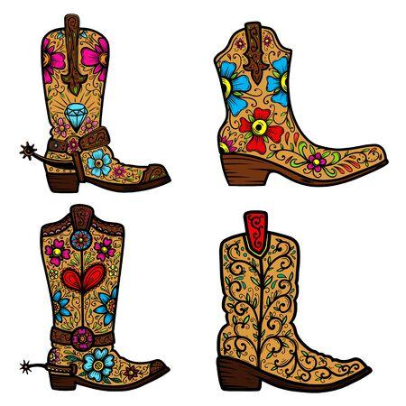 Set di stivali da cowboy con motivo floreale. Elemento di design per poster, t-shirt, emblema, segno. Vettoriali