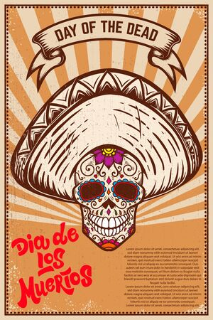 Dia de los muertos (Day of the dead). Mexican sugar skull on grunge background.