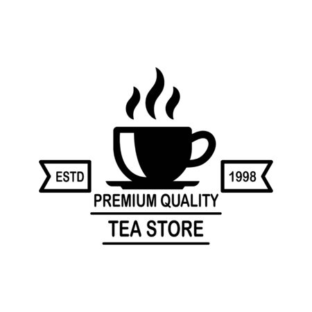 Tea shop emblem template. Çizim