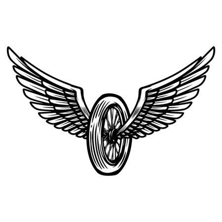 Winged motorcycle wheel on light background.