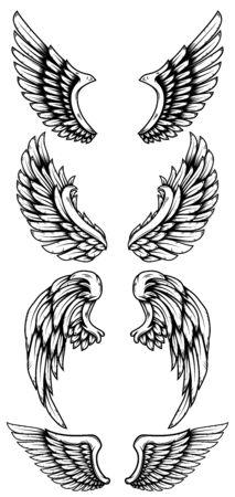 Ensemble d'ailes d'aigle dans le style de tatouage. Vecteurs