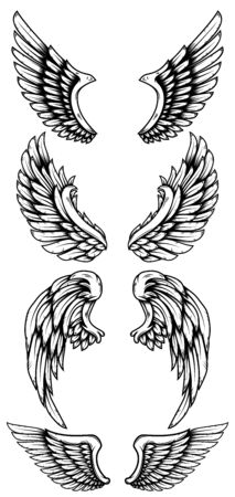 Set of eagle wings in tattoo style. Vettoriali