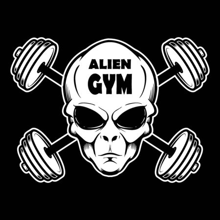 Alien gym. Alien head with crossed barbells. Design element for poster, banner, t shirt, emblem. Vector illustration 일러스트