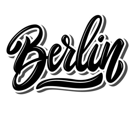 Berlin (capital of Germany). Lettering phrase on white background. Design element for poster, banner, t shirt, emblem. Vector illustration 일러스트