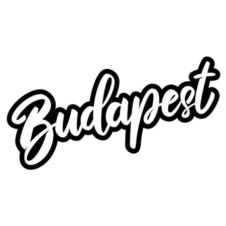 Budapest (capital of Hungary).  Lettering phrase on white background. Design element for poster, banner, t shirt, emblem. Vector illustration 일러스트