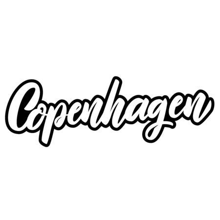 Copenhagen (capital of Denmark). Lettering phrase on white background. Design element for poster, banner, t shirt, emblem. Vector illustration