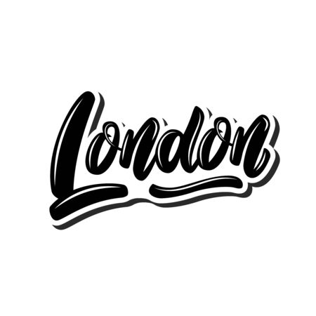 London (capital of England). Lettering phrase on white background. Design element for poster, banner, t shirt, emblem. Vector illustration 일러스트
