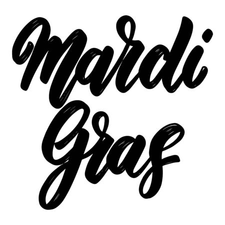 Mardi gras. Lettering phrase isolated on white. Design element for poster, t shirt, card, banner, emblem, sign. Vector illustration